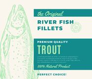 Premium Quality Fish Fillets. Abstract Vector Fish Packaging Design or Label. Modern Typography and Hand Drawn Trout. Silhouette Background Layout Royalty Free Stock Photography