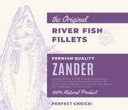 Premium Quality Fish Fillets. Abstract Vector Fish Packaging Design or Label. Modern Typography and Hand Drawn Zander. Silhouette Background Layout Royalty Free Stock Image