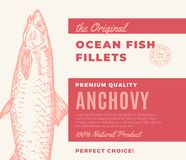 Premium Quality Fish Fillets. Abstract Vector Fish Packaging Design or Label. Modern Typography and Hand Drawn Anchovy. Silhouette Background Layout Royalty Free Stock Photography