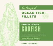 Premium Quality Fish Fillets. Abstract Vector Fish Packaging Design or Label. Modern Typography and Hand Drawn Codfish. Silhouette Background Layout Stock Photo