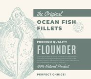Premium Quality Fish Fillets. Abstract Vector Fish Packaging Design or Label. Modern Typography and Hand Drawn Flounder. Flatfish Silhouette Background Layout Royalty Free Stock Photo