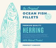 Premium Quality Fish Fillets. Abstract Vector Fish Packaging Design or Label. Modern Typography and Hand Drawn Herring. Silhouette Background Layout Stock Image