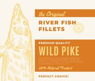 Premium Quality Fish Fillets. Abstract Vector Fish Packaging Design or Label. Modern Typography and Hand Drawn Pike. Silhouette Background Layout Stock Photography