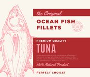Premium Quality Fish Fillets. Abstract Vector Fish Packaging Design or Label. Modern Typography and Hand Drawn Tuna. Silhouette Background Layout Royalty Free Stock Images