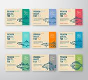 Premium Quality Fish Labels Collection. Abstract Vector Packaging Design or Label. Modern Typography and Hand Drawn Fish. Silhouettes Background Layouts with Royalty Free Stock Image