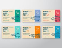 Premium Quality Fish Labels Set. Abstract Vector Packaging Design or Label. Modern Typography and Hand Drawn Fish. Silhouettes Background Layouts with Soft Stock Photography