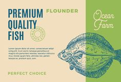 Premium Quality Flounder. Abstract Vector Fish Packaging Design or Label. Modern Typography and Hand Drawn Flounder. Silhouette Background Layout Royalty Free Stock Images