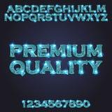 Premium quality Golden blue glowing alphabet Royalty Free Stock Photo