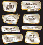 Premium quality golden labels Stock Images