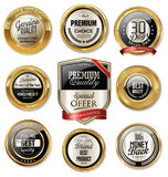 Premium quality golden labels. Collection Royalty Free Stock Images