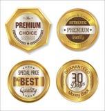 Premium quality golden labels. Premium quality golden  labels collection Stock Photos