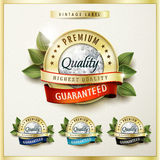 Premium quality golden labels with diamond elements Royalty Free Stock Image