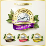 Premium quality golden labels with diamond elements Royalty Free Stock Photos