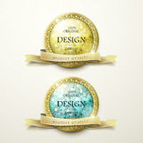 Premium quality golden labels with diamond elements Stock Photo
