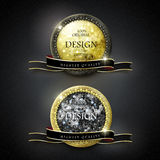 Premium quality golden labels with diamond elements Royalty Free Stock Images