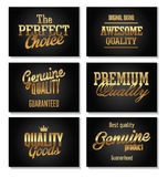 Premium quality golden labels Stock Photos