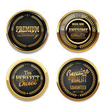 Premium quality golden labels Royalty Free Stock Photography