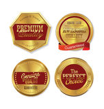 Premium quality golden labels. Premium quality gold and red labels collection Royalty Free Stock Image