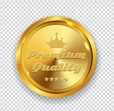 Premium Quality Golden Medal Icon Seal  Sign Isolated on Transpa. Rent Background. Vector Illustration EPS10 Stock Photos