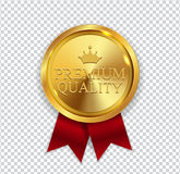 Premium Quality Golden Medal Icon Seal  Sign  on White B. Ackground. Vector Illustration EPS10 Royalty Free Stock Photography