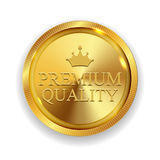 Premium Quality Golden Medal Icon Seal  Sign  on White B. Ackground. Vector Illustration EPS10 Stock Images