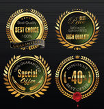 Premium quality golden medallion with laurel wreath Royalty Free Stock Photography