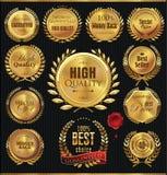 Premium quality golden medallion with laurel wreath Stock Images
