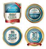 Premium quality golden shields and labels Royalty Free Stock Image