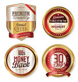 Premium quality golden shields and labels. Collection Stock Image