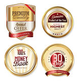 Premium quality golden shields and labels Royalty Free Stock Photography