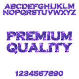 Premium quality. Golden violet glowing alphabet Royalty Free Stock Photography