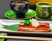 Premium quality grilled eel and miso soup royalty free stock photos