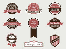 Premium Quality and Guarantee Badges. With retro vintage style Vector Illustration