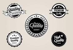 Premium Quality & Guarantee Labels and Badges - retro vintage style vector illustration