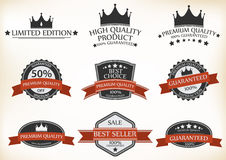 Premium Quality and Guarantee Labels Royalty Free Stock Photo