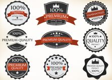 Premium Quality and Guarantee Labels with retro vintage style Stock Photos