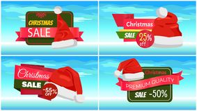 Premium Quality Half Price Christmas Sale Posters. Vector illustrations with Santa s hats with white bubo, advertising text, red ribbons, snowflake on Royalty Free Stock Photo