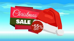 Premium Quality Half Price Christmas Sale Posters. Vector illustrations with Santa s hats with white bubo, advertising text, red ribbons, snowflake on Stock Images