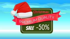 Premium Quality Half Price Christmas Sale Posters. Vector illustrations with Santa s hats with white bubo, advertising text, red ribbons, snowflake on Royalty Free Stock Images