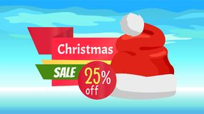 Premium Quality Half Price Christmas Sale Posters. Vector illustrations with Santa s hats with white bubo, advertising text, red ribbons, snowflake on Royalty Free Stock Photos