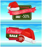 Premium Quality Half Price Christmas Sale Posters. Vector illustrations with Santa s hats with white bubo, advertising text, red ribbons, snowflake on Royalty Free Stock Photography