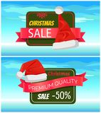 Premium Quality Half Price Christmas Sale Posters. Vector illustrations with Santa s hats with white bubo, advertising text, red ribbons, snowflake Royalty Free Stock Photography