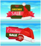 Premium Quality Half Price Christmas Sale Posters. Vector illustrations with Santa s hats with white bubo, advertising text, red ribbons, snowflake on Royalty Free Stock Image