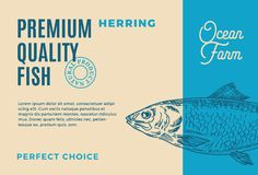 Premium Quality Herring. Abstract Vector Fish Packaging Design or Label. Modern Typography and Hand Drawn Herring. Silhouette Background Layout Royalty Free Stock Image