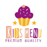 Premium Quality Kids Food, Cafe Special Menu For Children Colorful Promo Sign Template With Text And Cupcake Stock Image