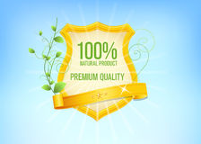 Premium Quality Label. Golden premium quality label with green leaves vector illustration