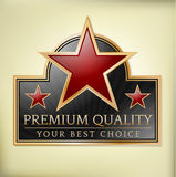 Premium quality label. Premium quality shiny label with stars Royalty Free Stock Photography
