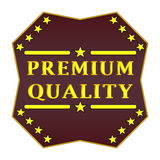 Premium quality label. Premium quality badge, purple shape, on a white background Royalty Free Stock Photos