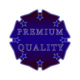 Premium quality label. Premium quality badge on a white background with stars Stock Photo