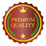 Premium quality label. Badge with wreath on white background Stock Images